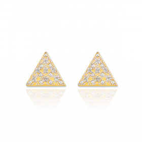 Diamond Pave Triangle Post Stud Earrings in 9ct Gold