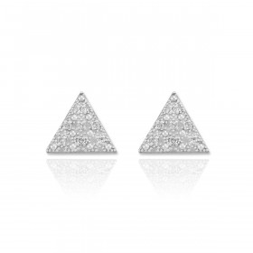 Diamond Pave Triangle Post Stud Earrings in 9ct White Gold