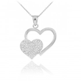 Diamond Pave Twin Hearts Pendant Necklace in 9ct White Gold
