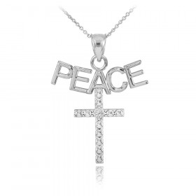 Diamond Peace Cross Pendant Necklace in 9ct White Gold