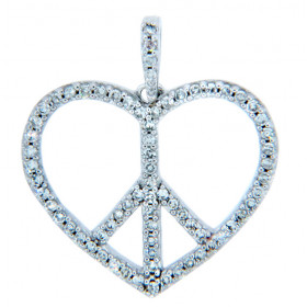 Diamond Peace Heart Charm Pendant Necklace in 9ct White Gold