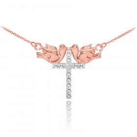 Diamond Pigeon Cross Pendant Necklace in 9ct Two-Tone Gold