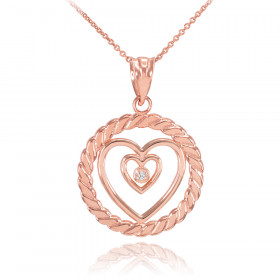 Diamond Roped Circle Double Heart Pendant Necklace in 9ct Rose Gold