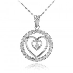 Diamond Roped Circle Double Heart Pendant Necklace in 9ct White Gold