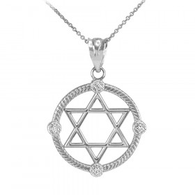 0.05ct Diamond Roped Circle Star of David Pendant Necklace in 9ct White Gold