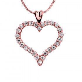 1.0ct Diamond Rose Heart Pendant Necklace in 9ct Rose Gold