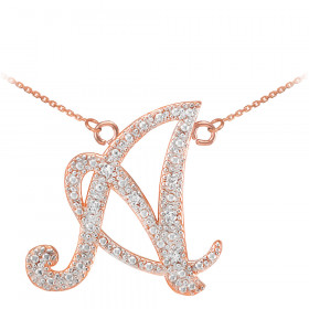 Diamond Script Letter A Pendant Necklace in 9ct Rose Gold