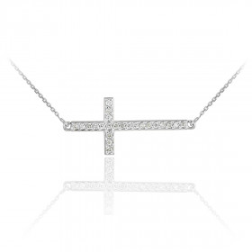 Diamond Sideways Cross Pendant Necklace in 9ct White Gold