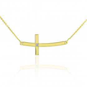 Diamond Sideways Curved Cross Pendant Necklace in 9ct Gold