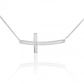Diamond Sideways Curved Cross Pendant Necklace in 9ct White Gold