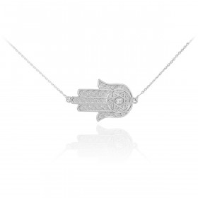 Diamond Sideways Hamsa Pendant Necklace in 9ct White Gold