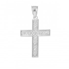 Diamond Small Cross Pendant Necklace in 9ct White Gold