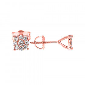 Diamond Small Halo Cluster Stud Earrings in 9ct Rose Gold