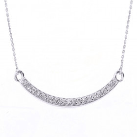 Diamond Smiley Face Curved Pendant Necklace in 9ct White Gold