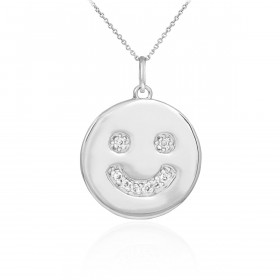 Diamond Smiley Face Pendant Necklace in 9ct White Gold