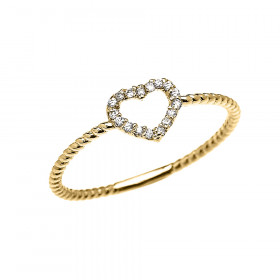 0.07ct Diamond Stackable Open Heart Rope Promise Twisted Rope Ring in 9ct Gold