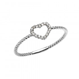 0.07ct Diamond Stackable Open Heart Rope Promise Twisted Rope Ring in 9ct White Gold