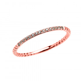 Diamond Stackable Rope Design Twisted Rope Ring in 9ct Rose Gold
