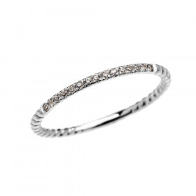 Diamond Stackable Rope Design Twisted Rope Ring in 9ct White Gold