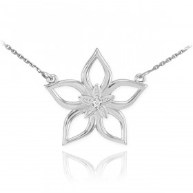 Diamond Star Flower Pendant Necklace in 9ct White Gold