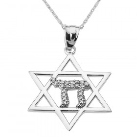 0.15ct Diamond Star of David Chai Pendant Necklace in 9ct White Gold