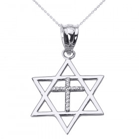 0.08ct Diamond Star of David Cross Pendant Necklace in 9ct White Gold