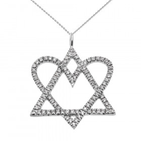 0.35ct Diamond Star of David Love Heart Pendant Necklace in 9ct White Gold