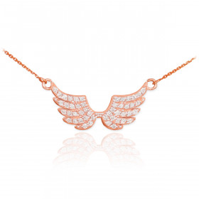 Diamond Studded Angel Wings Pendant Necklace in 9ct Rose Gold