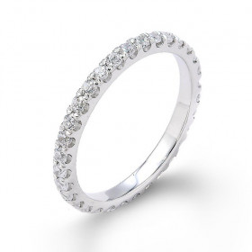 Diamond Studded Eternity Wedding Ring in 9ct White Gold