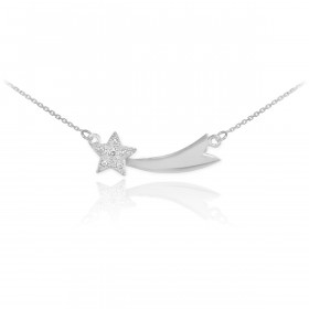 Diamond Studded Shooting Star Pendant Necklace in 9ct White Gold