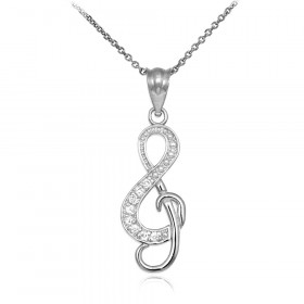 Diamond Studded Treble Clef Pendant Necklace in 9ct White Gold