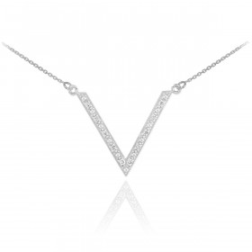 Diamond Studded V Pendant Necklace in 9ct White Gold