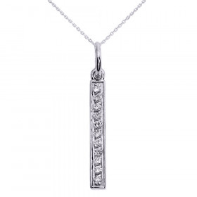 Diamond Studded Vertical Bar Pendant Necklace in 9ct White Gold