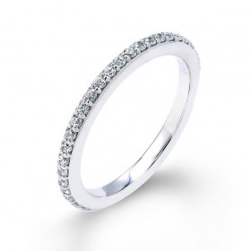 Diamond Thin Studded Eternity Wedding Ring in 9ct White Gold