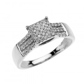0.5ct Diamond Three Row Micro-Pave Beauty Diamond Band in 9ct White Gold