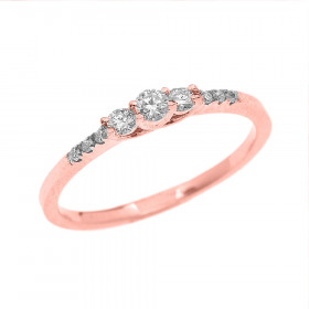Diamond Three Stone Engagement Ring in 9ct Rose Gold