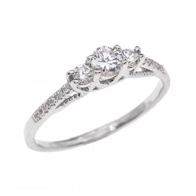 Diamond Three Stone Engagement Ring in 9ct White Gold