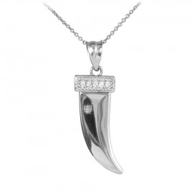 Diamond Tiger Tooth Pendant Necklace in 9ct White Gold