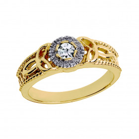 Diamond Trinity Knot Vintage Engagement Ring in 9ct Gold