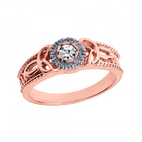Diamond Trinity Knot Vintage Engagement Ring in 9ct Rose Gold