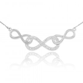 Diamond Triple Infinity Pendant Necklace in 9ct White Gold
