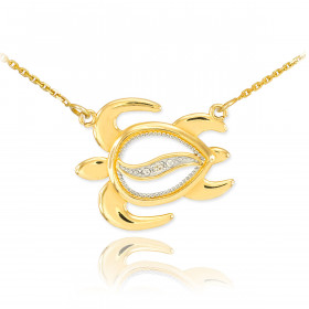 Diamond Turtle Pendant Necklace in 9ct Gold