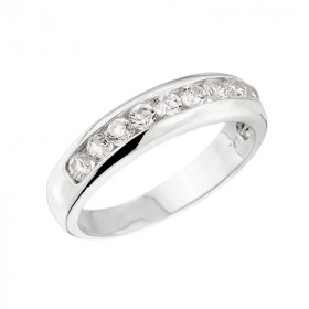 0.6ct Diamond Unisex Anniversary Half Eternity Ring in 9ct White Gold