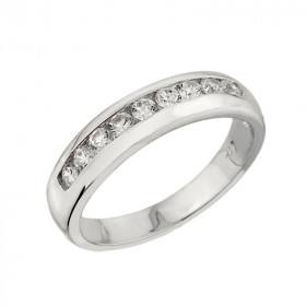 0.38ct Diamond Unisex Anniversary Half Eternity Ring in 9ct White Gold