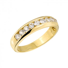 0.6ct Diamond Unisex Anniversary Half Eternity Wedding Ring in 9ct Gold