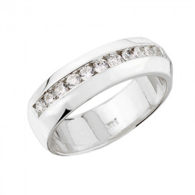 0.43ct Diamond Unisex Half Eternity Wedding Ring in 9ct White Gold