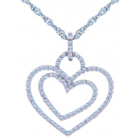 Diamond Valentine Double Heart Pendant Necklace in 9ct White Gold