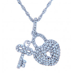 Diamond Valentine Heart Lock and Key Necklace in 9ct White Gold