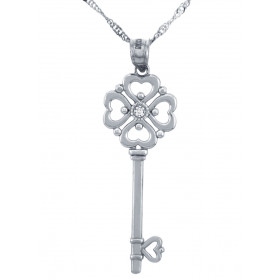 Diamond Valentine Key Hearts Pendant Necklace in 9ct White Gold
