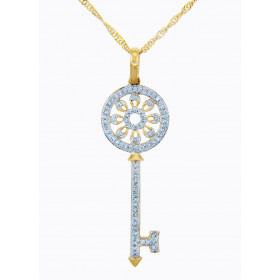 Diamond Valentine Key Pendant Necklace in 9ct Gold